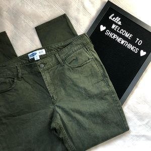 Old Navy Green Textured Rockstar Super Skinny Pant